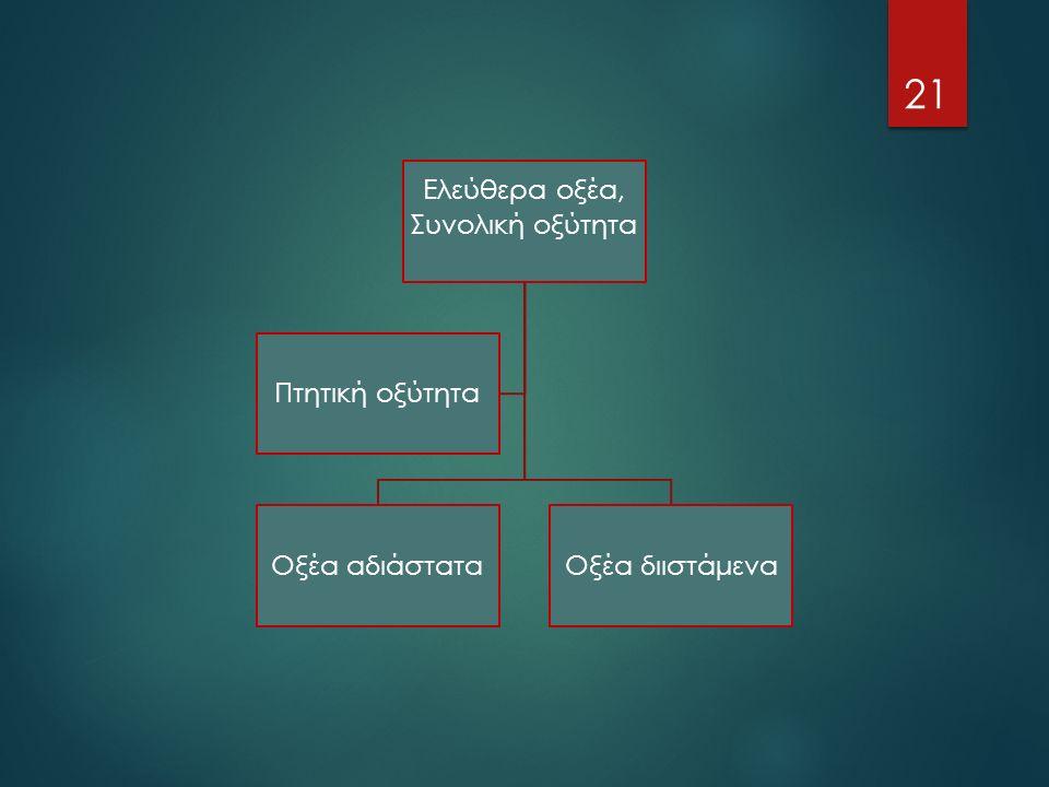 Ελεύθερα οξέα, Συνολική οξύτητα Οξέα αδιάσταταΟξέα διιστάμενα Πτητική οξύτητα 21
