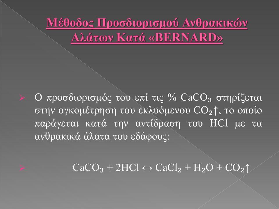  Ο προσδιορισμός του επί τις % CaCO ₃ στηρίζεται στην ογκομέτρηση του εκλυόμενου CO ₂ ↑, το οποίο παράγεται κατά την αντίδραση του HCl με τα ανθρακικά άλατα του εδάφους:  CaCO ₃ + 2HCl ↔ CaCl ₂ + H ₂ O + CO ₂ ↑