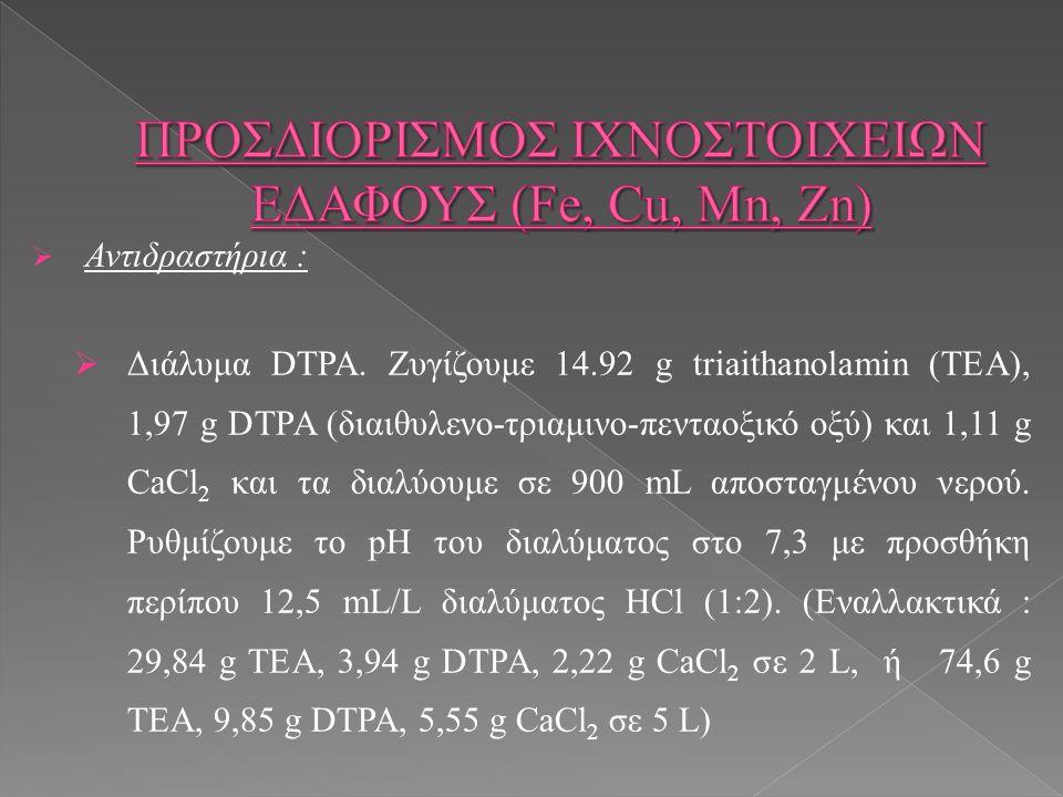  Αντιδραστήρια :  Διάλυμα DTPA.