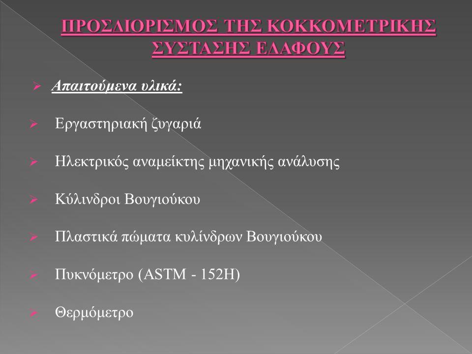  Απαιτούμενα υλικά:  Εργαστηριακή ζυγαριά  Ηλεκτρικός αναμείκτης μηχανικής ανάλυσης  Κύλινδροι Βουγιούκου  Πλαστικά πώματα κυλίνδρων Βουγιούκου  Πυκνόμετρο (ASTM - 152H)  Θερμόμετρο