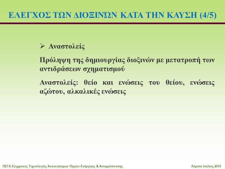  Αναστολείς Πρόληψη της δημιουργίας διοξινών με μετατροπή των αντιδράσεων σχηματισμού Αναστολείς: θείο και ενώσεις του θείου, ενώσεις αζώτου, αλκαλικές ενώσεις ΕΛΕΓΧΟΣ ΤΩΝ ΔΙΟΞΙΝΏΝ ΚΑΤΑ ΤΗΝ ΚΑΥΣΗ (4/5) ΠΕΓΑ Σύγχρονες Τεχνολογίες Ανανεώσιμων Πηγών Ενέργειας & ΑντιρρύπανσηςΛάρισα Ιούλιος 2015