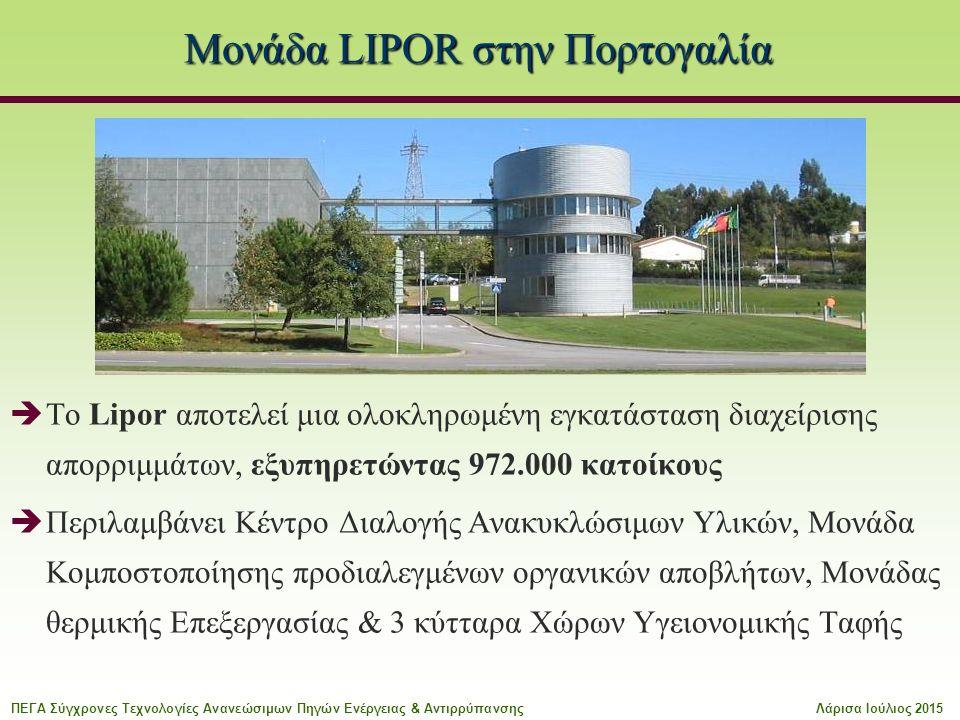 Μονάδα LIPOR στην Πορτογαλία  To Lipor αποτελεί μια ολοκληρωμένη εγκατάσταση διαχείρισης απορριμμάτων, εξυπηρετώντας 972.000 κατοίκους  Περιλαμβάνει Κέντρο Διαλογής Ανακυκλώσιμων Υλικών, Μονάδα Κομποστοποίησης προδιαλεγμένων οργανικών αποβλήτων, Μονάδας θερμικής Επεξεργασίας & 3 κύτταρα Χώρων Υγειονομικής Ταφής ΠΕΓΑ Σύγχρονες Τεχνολογίες Ανανεώσιμων Πηγών Ενέργειας & ΑντιρρύπανσηςΛάρισα Ιούλιος 2015