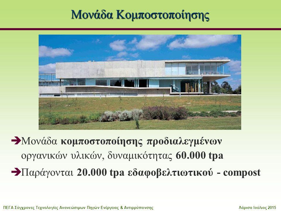 Μονάδα Κομποστοποίησης  Μονάδα κομποστοποίησης προδιαλεγμένων οργανικών υλικών, δυναμικότητας 60.000 tpa  Παράγονται 20.000 tpa εδαφοβελτιωτικού - compost ΠΕΓΑ Σύγχρονες Τεχνολογίες Ανανεώσιμων Πηγών Ενέργειας & ΑντιρρύπανσηςΛάρισα Ιούλιος 2015
