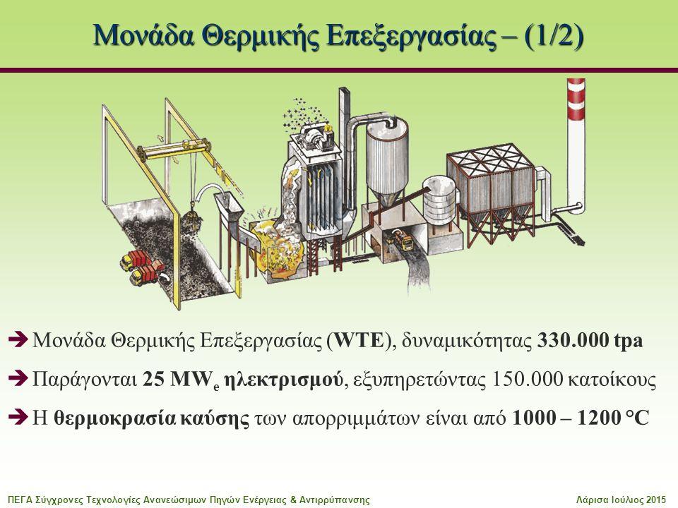 Μονάδα Θερμικής Επεξεργασίας – (1/2)  Μονάδα Θερμικής Επεξεργασίας (WTE), δυναμικότητας 330.000 tpa  Παράγονται 25 MW e ηλεκτρισμού, εξυπηρετώντας 150.000 κατοίκους  Η θερμοκρασία καύσης των απορριμμάτων είναι από 1000 – 1200 °C ΠΕΓΑ Σύγχρονες Τεχνολογίες Ανανεώσιμων Πηγών Ενέργειας & ΑντιρρύπανσηςΛάρισα Ιούλιος 2015