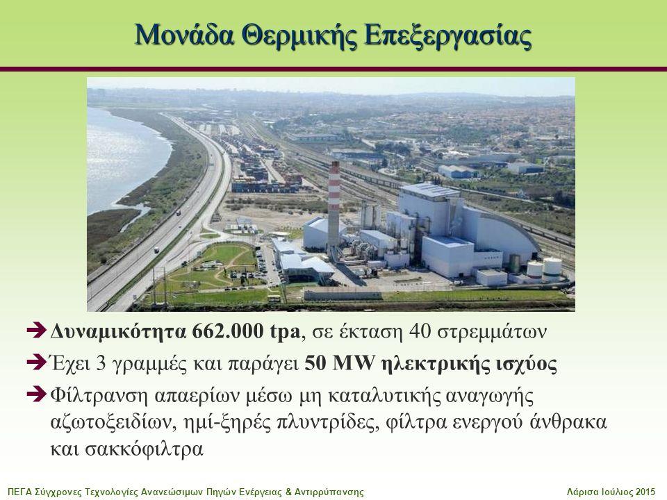 Μονάδα Θερμικής Επεξεργασίας  Δυναμικότητα 662.000 tpa, σε έκταση 40 στρεμμάτων  Έχει 3 γραμμές και παράγει 50 MW ηλεκτρικής ισχύος  Φίλτρανση απαερίων μέσω μη καταλυτικής αναγωγής αζωτοξειδίων, ημί-ξηρές πλυντρίδες, φίλτρα ενεργού άνθρακα και σακκόφιλτρα ΠΕΓΑ Σύγχρονες Τεχνολογίες Ανανεώσιμων Πηγών Ενέργειας & ΑντιρρύπανσηςΛάρισα Ιούλιος 2015