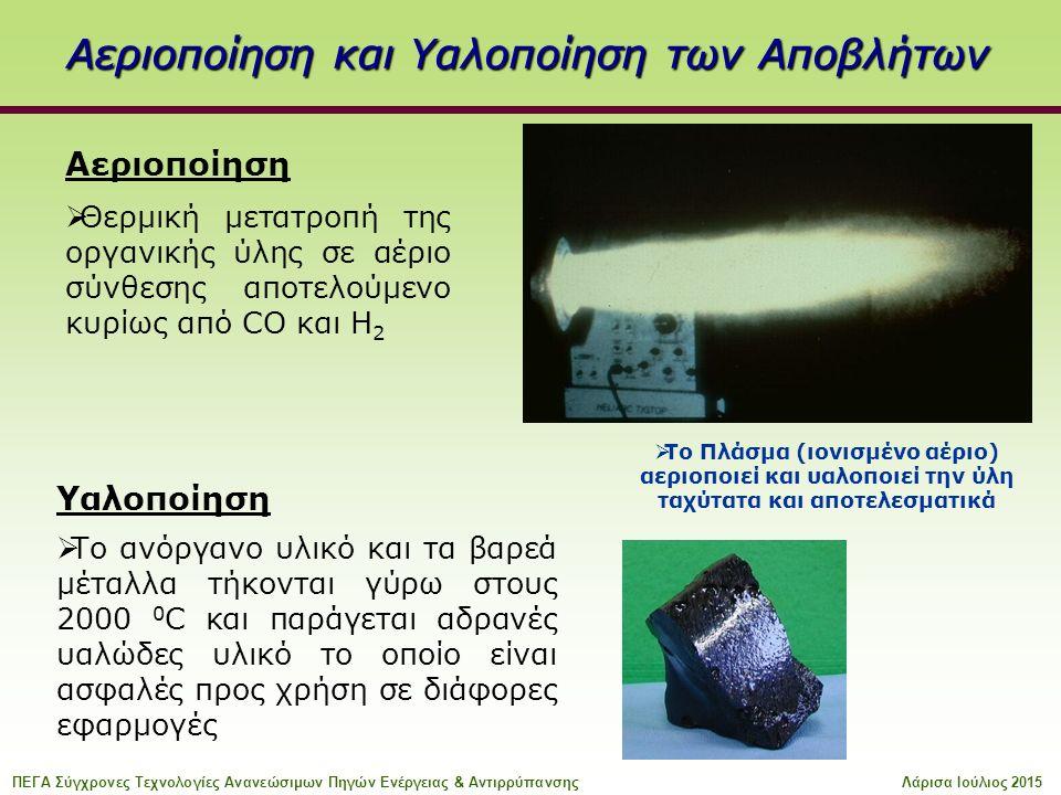 Αεριοποίηση  Θερμική μετατροπή της οργανικής ύλης σε αέριο σύνθεσης αποτελούμενο κυρίως από CO και H 2  Το Πλάσμα (ιονισμένο αέριο) αεριοποιεί και υαλοποιεί την ύλη ταχύτατα και αποτελεσματικά Υαλοποίηση  Το ανόργανο υλικό και τα βαρεά μέταλλα τήκονται γύρω στους 2000 0 C και παράγεται αδρανές υαλώδες υλικό το οποίο είναι ασφαλές προς χρήση σε διάφορες εφαρμογές Αεριοποίηση και Υαλοποίηση των Αποβλήτων ΠΕΓΑ Σύγχρονες Τεχνολογίες Ανανεώσιμων Πηγών Ενέργειας & ΑντιρρύπανσηςΛάρισα Ιούλιος 2015