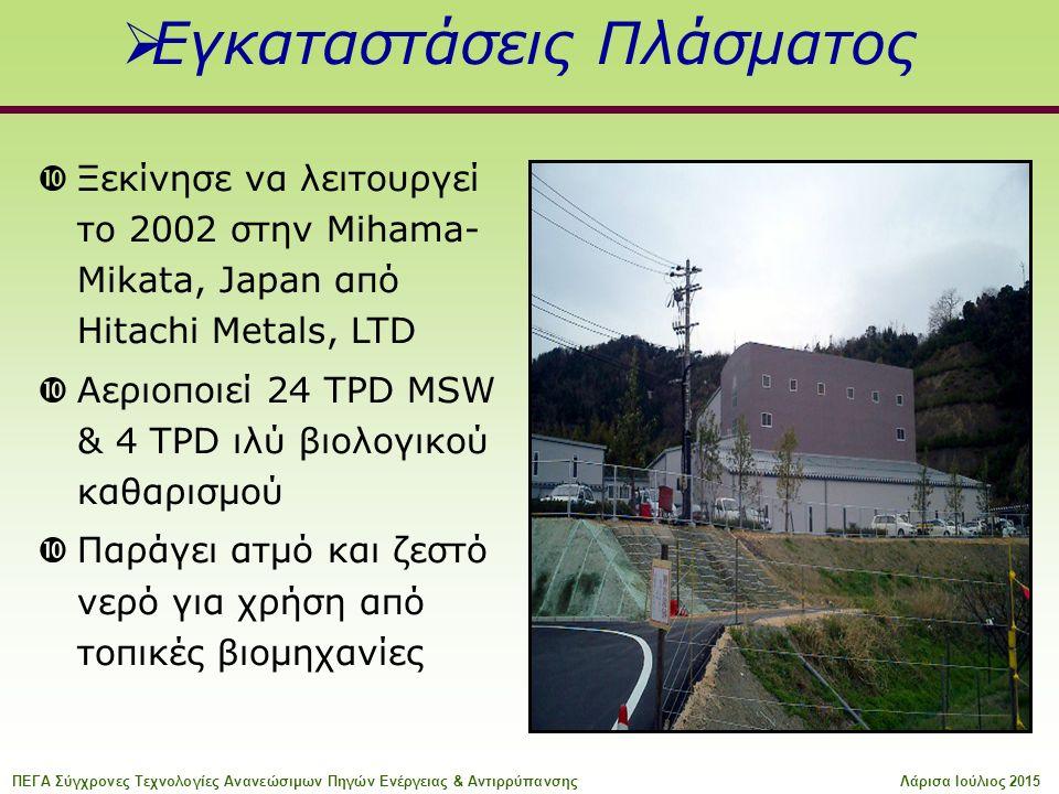  Εγκαταστάσεις Πλάσματος  Ξεκίνησε να λειτουργεί το 2002 στην Mihama- Mikata, Japan από Hitachi Metals, LTD  Αεριοποιεί 24 TPD MSW & 4 TPD ιλύ βιολογικού καθαρισμού  Παράγει ατμό και ζεστό νερό για χρήση από τοπικές βιομηχανίες ΠΕΓΑ Σύγχρονες Τεχνολογίες Ανανεώσιμων Πηγών Ενέργειας & ΑντιρρύπανσηςΛάρισα Ιούλιος 2015