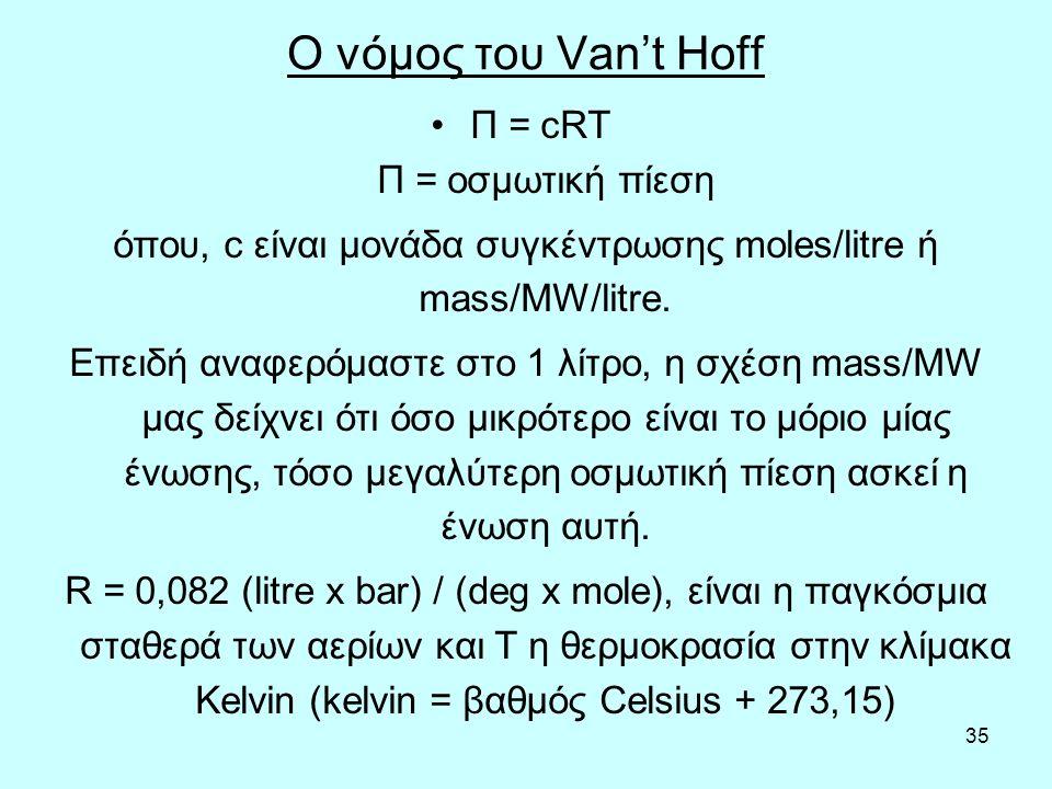 35 Ο νόμος του Van't Hoff Π = cRT Π = οσμωτική πίεση όπου, c είναι μονάδα συγκέντρωσης moles/litre ή mass/MW/litre.