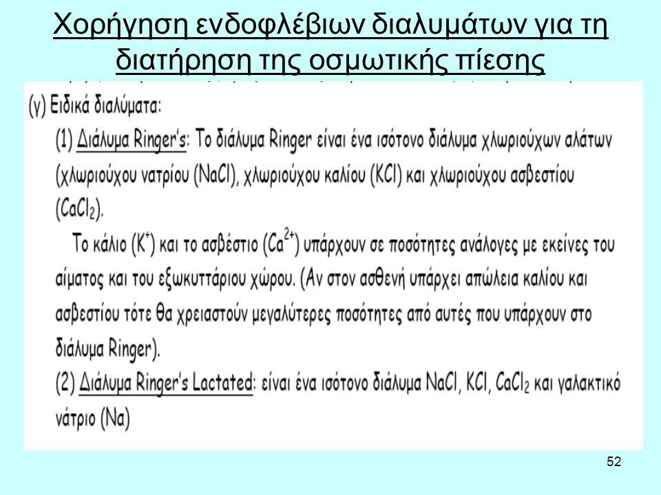 52 Χορήγηση ενδοφλέβιων διαλυμάτων για τη διατήρηση της οσμωτικής πίεσης