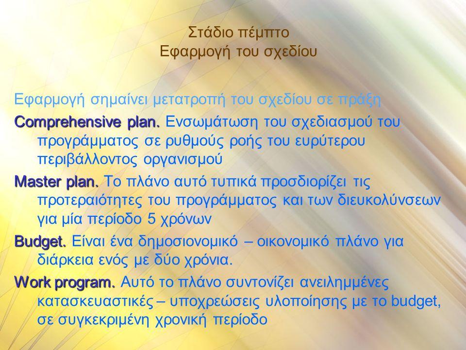 Στάδιο πέμπτο Εφαρμογή του σχεδίου Εφαρμογή σημαίνει μετατροπή του σχεδίου σε πράξη Comprehensive plan.