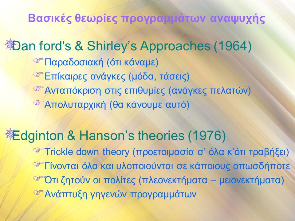 Βασικές θεωρίες προγραμμάτων αναψυχής  Dan ford s & Shirley's Approaches (1964)  Παραδοσιακή (ότι κάναμε)  Επίκαιρες ανάγκες (μόδα, τάσεις)  Ανταπόκριση στις επιθυμίες (ανάγκες πελατών)  Απολυταρχική (θα κάνουμε αυτό)  Edginton & Hanson's theories (1976)  Trickle down theory (προετοιμασία σ' όλα κ'ότι τραβήξει)  Γίνονται όλα και υλοποιούνται σε κάποιους οπωσδήποτε  Ότι ζητούν οι πολίτες (πλεονεκτήματα – μειονεκτήματα)  Ανάπτυξη γηγενών προγραμμάτων