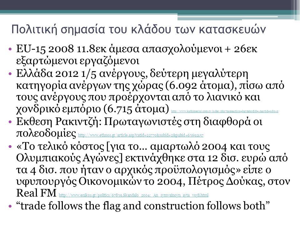 Πολιτική σημασία του κλάδου των κατασκευών EU-15 2008 11.8εκ άμεσα απασχολούμενοι + 26εκ εξαρτώμενοι εργαζόμενοι Ελλάδα 2012 1/5 ανέργους, δεύτερη μεγαλύτερη κατηγορία ανέργων της χώρας (6.092 άτομα), πίσω από τους ανέργους που προέρχονται από το λιανικό και χονδρικό εμπόριο (6.715 άτομα) http://www.kathimerini.com.cy/index.php?pageaction=kat&modid=1&artid=98010 http://www.kathimerini.com.cy/index.php?pageaction=kat&modid=1&artid=98010 Εκθεση Ρακιντζή: Πρωταγωνιστές στη διαφθορά οι πολεοδομίες http://www.ethnos.gr/article.asp?catid=22770&subid=2&pubid=63692157 http://www.ethnos.gr/article.asp?catid=22770&subid=2&pubid=63692157 «Το τελικό κόστος [για το...