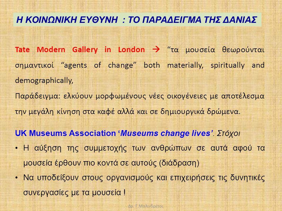 """Δρ. Γ.Μαλινδρέτος Tate Modern Gallery in London  """"τα μουσεία θεωρούνται σημαντικοί """"agents of change"""" both materially, spiritually and demographicall"""