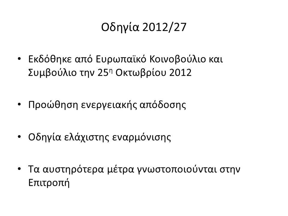 Οδηγία 2012/27 Εκδόθηκε από Ευρωπαϊκό Κοινοβούλιο και Συμβούλιο την 25 η Οκτωβρίου 2012 Προώθηση ενεργειακής απόδοσης Οδηγία ελάχιστης εναρμόνισης Τα