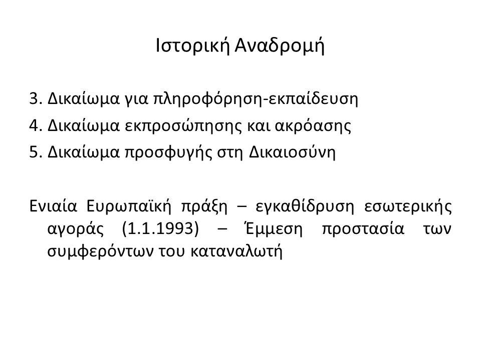 Ιστορική Αναδρομή 3. Δικαίωμα για πληροφόρηση-εκπαίδευση 4. Δικαίωμα εκπροσώπησης και ακρόασης 5. Δικαίωμα προσφυγής στη Δικαιοσύνη Ενιαία Ευρωπαϊκή π