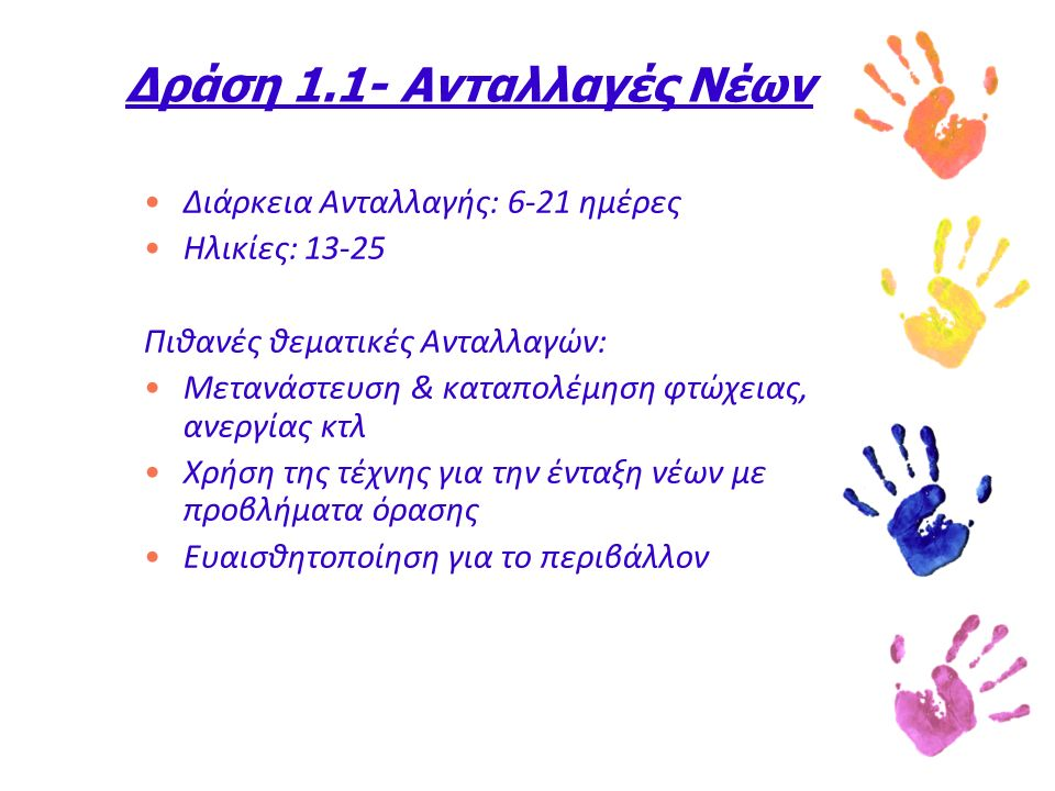 Δράση 1.1- Ανταλλαγές Νέων Διάρκεια Ανταλλαγής: 6-21 ημέρες Ηλικίες: 13-25 Πιθανές θεματικές Ανταλλαγών: Μετανάστευση & καταπολέμηση φτώχειας, ανεργίας κτλ Χρήση της τέχνης για την ένταξη νέων με προβλήματα όρασης Ευαισθητοποίηση για το περιβάλλον