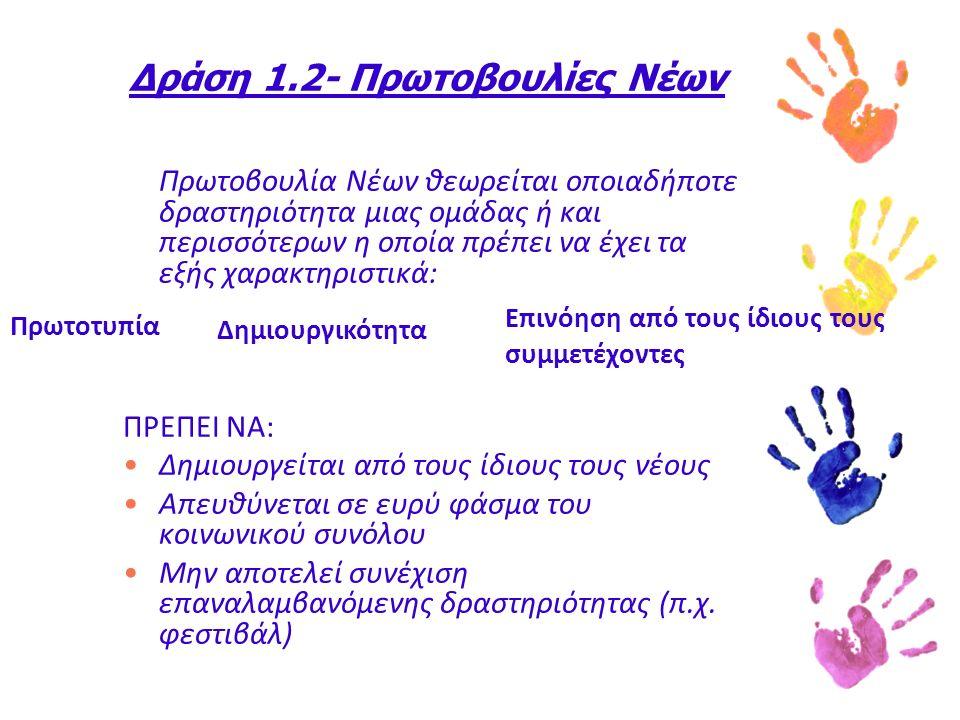 Δράση 1.2- Πρωτοβουλίες Νέων Πρωτοβουλία Νέων θεωρείται οποιαδήποτε δραστηριότητα μιας ομάδας ή και περισσότερων η οποία πρέπει να έχει τα εξής χαρακτηριστικά: ΠΡΕΠΕΙ ΝΑ: Δημιουργείται από τους ίδιους τους νέους Απευθύνεται σε ευρύ φάσμα του κοινωνικού συνόλου Μην αποτελεί συνέχιση επαναλαμβανόμενης δραστηριότητας (π.χ.