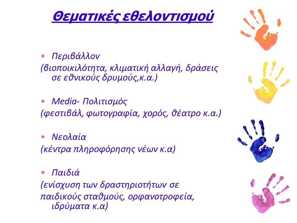 Θεματικές εθελοντισμού Περιβάλλον (βιοποικιλότητα, κλιματική αλλαγή, δράσεις σε εθνικούς δρυμούς,κ.α.) Media- Πολιτισμός (φεστιβάλ, φωτογραφία, χορός, θέατρο κ.α.) Νεολαία (κέντρα πληροφόρησης νέων κ.α) Παιδιά (ενίσχυση των δραστηριοτήτων σε παιδικούς σταθμούς, ορφανοτροφεία, ιδρύματα κ.α)