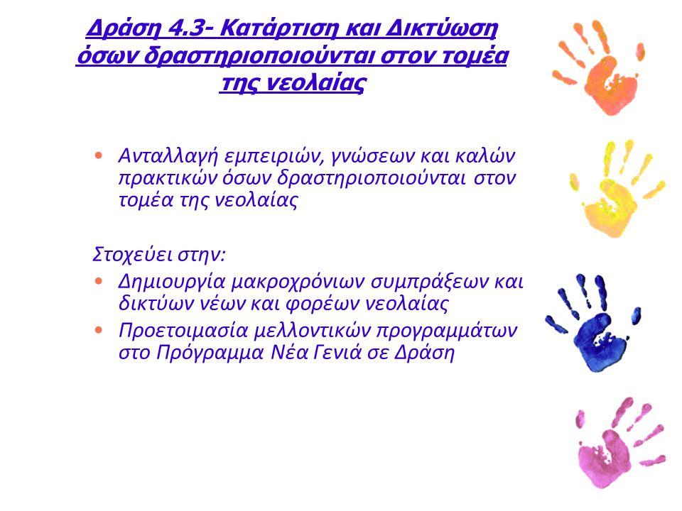 Δράση 4.3- Κατάρτιση και Δικτύωση όσων δραστηριοποιούνται στον τομέα της νεολαίας Ανταλλαγή εμπειριών, γνώσεων και καλών πρακτικών όσων δραστηριοποιούνται στον τομέα της νεολαίας Στοχεύει στην: Δημιουργία μακροχρόνιων συμπράξεων και δικτύων νέων και φορέων νεολαίας Προετοιμασία μελλοντικών προγραμμάτων στο Πρόγραμμα Νέα Γενιά σε Δράση