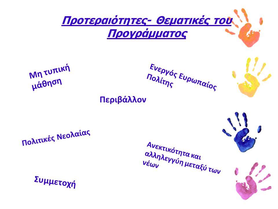 Προτεραιότητες- Θεματικές του Προγράμματος Μη τυπική μάθηση Ενεργός Ευρωπαίος Πολίτης Συμμετοχή Περιβάλλον Ανεκτικότητα και αλληλεγγύη μεταξύ των νέων Πολιτικές Νεολαίας
