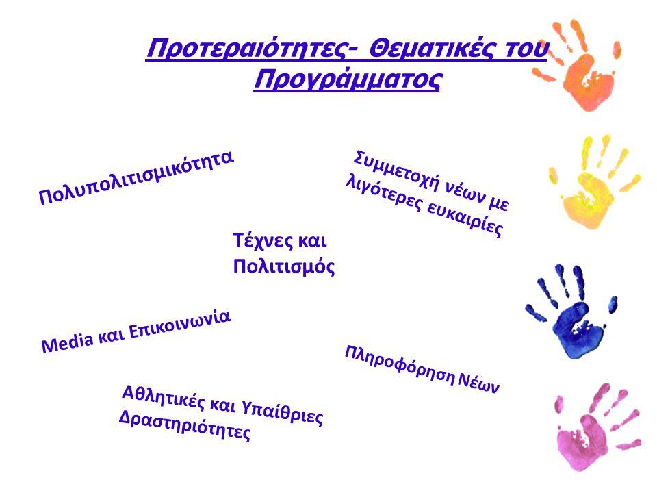 Προτεραιότητες- Θεματικές του Προγράμματος Πολυπολιτισμικότητα Συμμετοχή νέων με λιγότερες ευκαιρίες Αθλητικές και Υπαίθριες Δραστηριότητες Τέχνες και Πολιτισμός Πληροφόρηση Νέων Media και Επικοινωνία