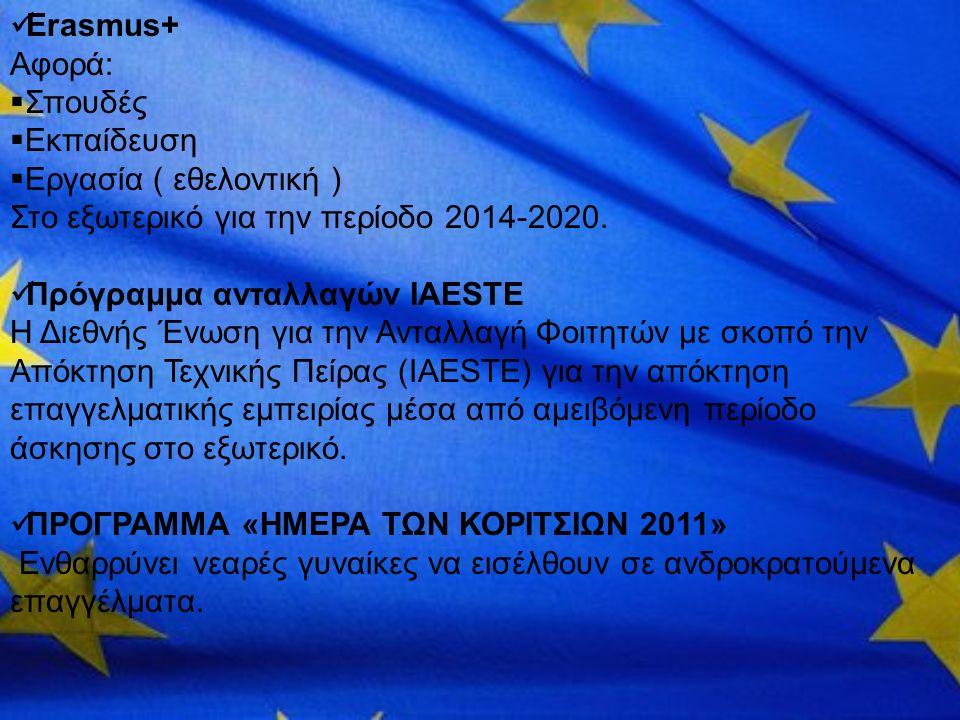 Erasmus+ Αφορά:  Σπουδές  Εκπαίδευση  Εργασία ( εθελοντική ) Στο εξωτερικό για την περίοδο 2014-2020. Πρόγραμμα ανταλλαγών IAESTE Η Διεθνής Ένωση γ
