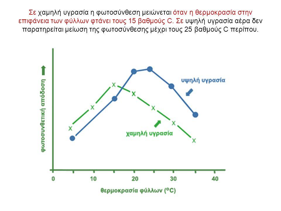 Σε χαμηλή υγρασία η φωτοσύνθεση μειώνεται όταν η θερμοκρασία στην επιφάνεια των φύλλων φτάνει τους 15 βαθμούς C.