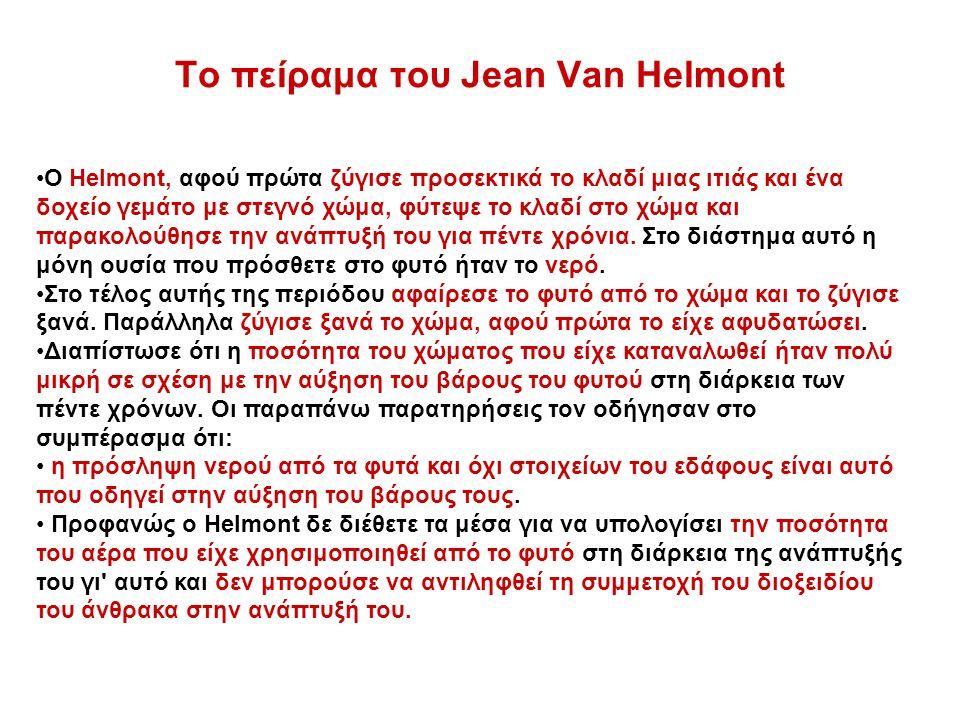 Το πείραμα του Jean Van Helmont Ο Helmont, αφού πρώτα ζύγισε προσεκτικά το κλαδί μιας ιτιάς και ένα δοχείο γεμάτο με στεγνό χώμα, φύτεψε το κλαδί στο χώμα και παρακολούθησε την ανάπτυξή του για πέντε χρόνια.