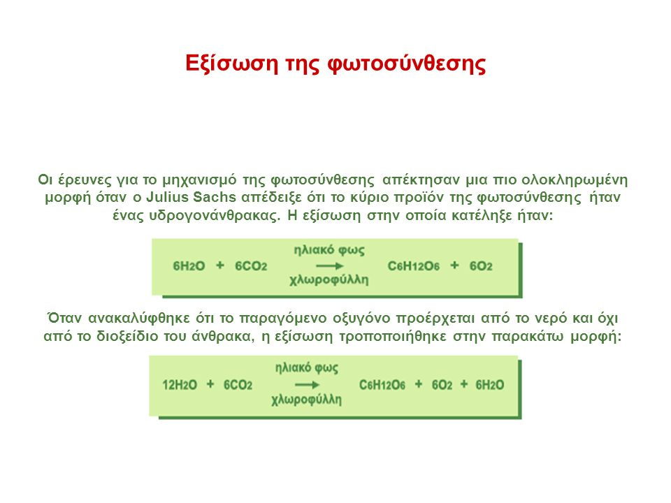 Εξίσωση της φωτοσύνθεσης Οι έρευνες για το μηχανισμό της φωτοσύνθεσης απέκτησαν μια πιο ολοκληρωμένη μορφή όταν ο Julius Sachs απέδειξε ότι το κύριο προϊόν της φωτοσύνθεσης ήταν ένας υδρογονάνθρακας.