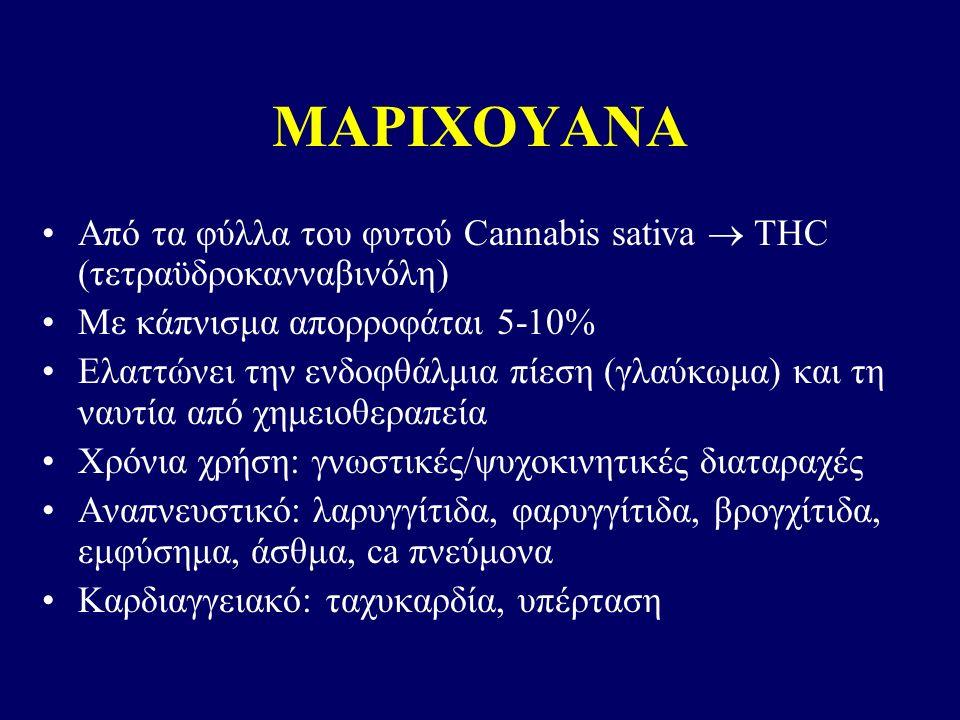 ΜΑΡΙΧΟΥΑΝΑ Από τα φύλλα του φυτού Cannabis sativa  THC (τετραϋδροκανναβινόλη) Με κάπνισμα απορροφάται 5-10% Ελαττώνει την ενδοφθάλμια πίεση (γλαύκωμα) και τη ναυτία από χημειοθεραπεία Χρόνια χρήση: γνωστικές/ψυχοκινητικές διαταραχές Αναπνευστικό: λαρυγγίτιδα, φαρυγγίτιδα, βρογχίτιδα, εμφύσημα, άσθμα, ca πνεύμονα Καρδιαγγειακό: ταχυκαρδία, υπέρταση