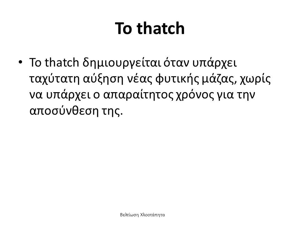 Βελτίωση Χλοοτάπητα Το thatch Το thatch δημιουργείται όταν υπάρχει ταχύτατη αύξηση νέας φυτικής μάζας, χωρίς να υπάρχει ο απαραίτητος χρόνος για την αποσύνθεση της.