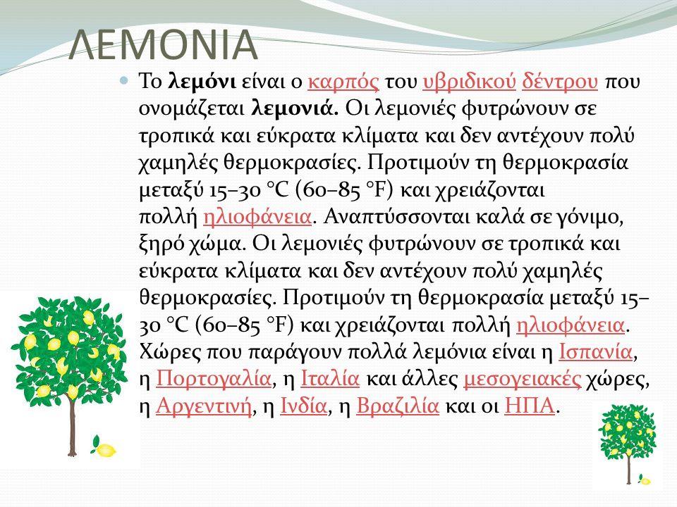 ΛΕΜΟΝΙΑ Το λεμόνι είναι ο καρπός του υβριδικού δέντρου που ονομάζεται λεμονιά. Οι λεμονιές φυτρώνουν σε τροπικά και εύκρατα κλίματα και δεν αντέχουν π