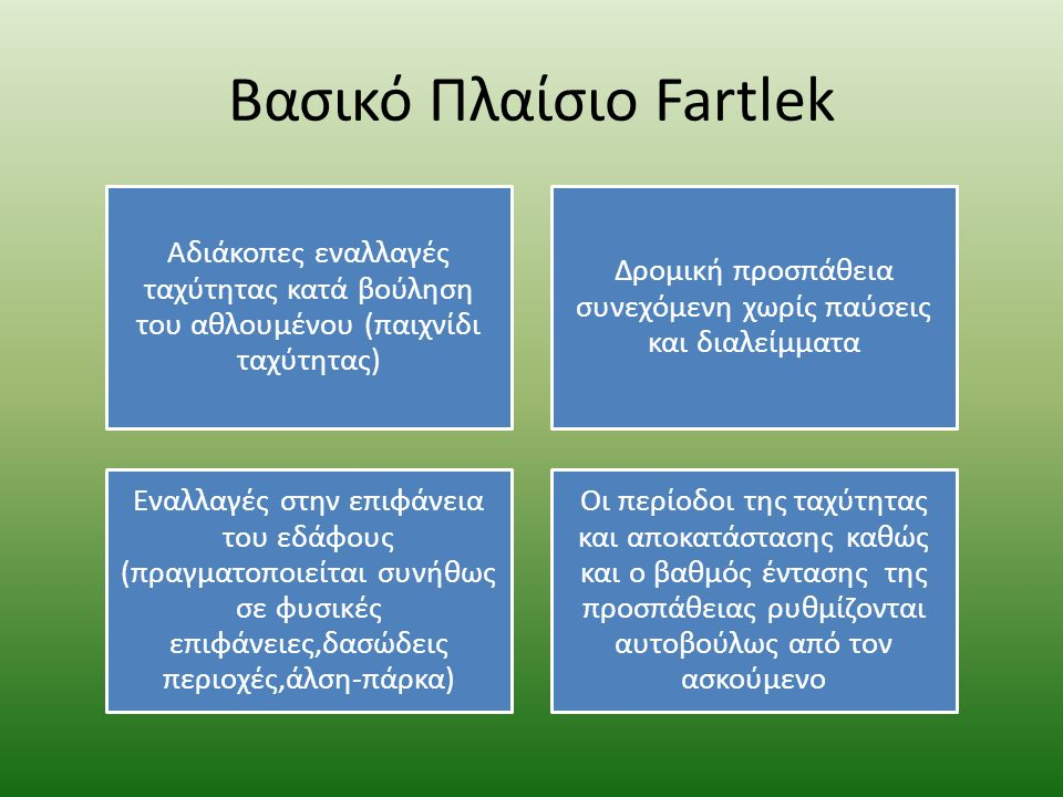 Βασικό Πλαίσιο Fartlek Αδιάκοπες εναλλαγές ταχύτητας κατά βούληση του αθλουμένου (παιχνίδι ταχύτητας) Δρομική προσπάθεια συνεχόμενη χωρίς παύσεις και διαλείμματα Εναλλαγές στην επιφάνεια του εδάφους (πραγματοποιείται συνήθως σε φυσικές επιφάνειες,δασώδεις περιοχές,άλση-πάρκα) Οι περίοδοι της ταχύτητας και αποκατάστασης καθώς και ο βαθμός έντασης της προσπάθειας ρυθμίζονται αυτοβούλως από τον ασκούμενο