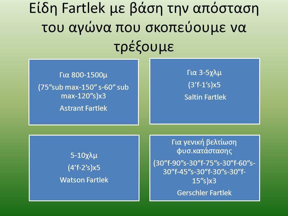 Είδη Fartlek με βάση την απόσταση του αγώνα που σκοπεύουμε να τρέξουμε Για 800-1500μ (75 sub max-150 s-60 sub max-120 s)x3 Astrant Fartlek Για 3-5χλμ (3'f-1's)x5 Saltin Fartlek 5-10χλμ (4'f-2's)x5 Watson Fartlek Για γενική βελτίωση φυσ.κατάστασης (30 f-90 s-30 f-75 s-30 f-60 s- 30 f-45 s-30 f-30 s-30 f- 15 s)x3 Gerschler Fartlek