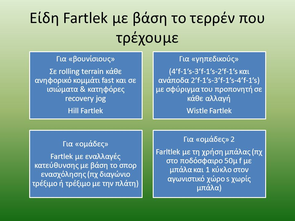 Προπόνηση Fartlek παντού Φανάρια Όπως το χρώμα του φαναριού (κόκκινο=fast, κιτρινο=moderate, πρασινο=slow) Σκυλο-κυνηγητό Σε υπαίθιο χώρο,κάθε φορά που έρχεστε αντιμέτωποι με σκύλους κάνετε f ή s Ταμπέλες Παιχνίδι ταχύτητας με βάση τις ταμπέλες (πχ ανά 1 ή ανά 2) Πυραμίδες χρόνου Εναλλάσουμε την ταχύτητα βάση χρόνου (πχ 1'f-1's-2'f-2's- 3'f-3's-3'f-3's-2'f-2's-1'f-1's x 3 φορές) Πυραμίδες έντασης Εναλλάσουμε την ταχύτητα με βάση την υποκειμενική αντίληψη της ταχύτητας (πχ 4's-3'm-2'f-1'submax-5' recovery jog x 3 φορές)