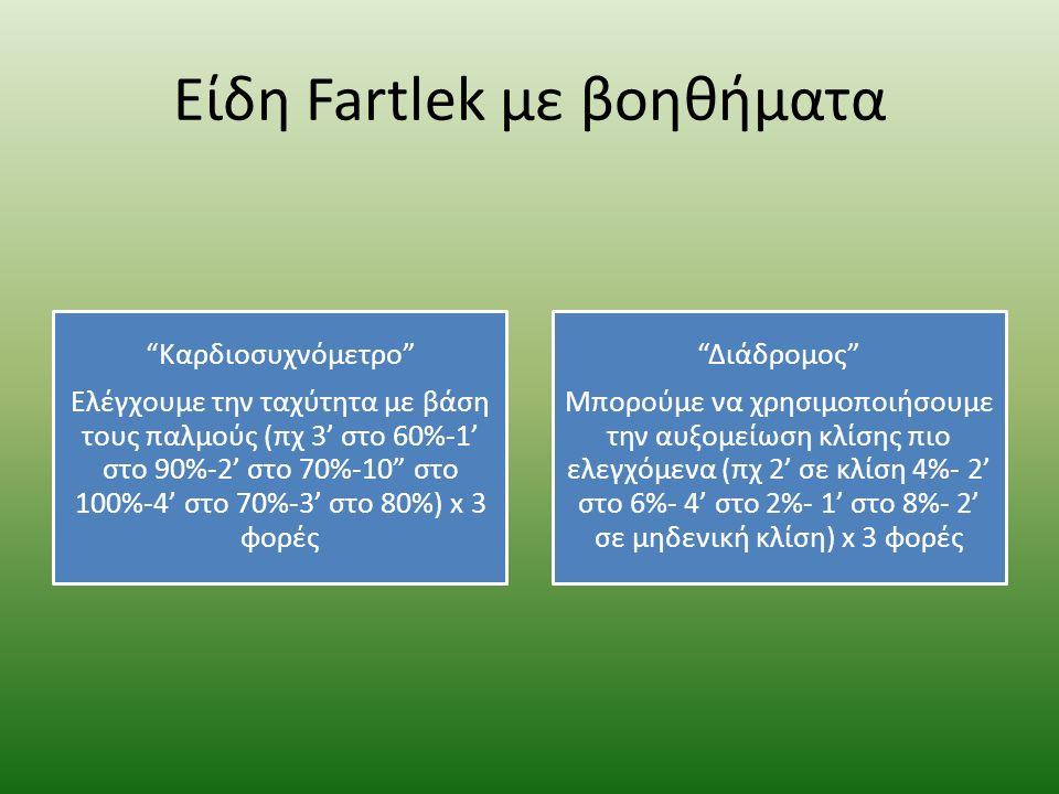 Είδη Fartlek με βοηθήματα Καρδιοσυχνόμετρο Eλέγχουμε την ταχύτητα με βάση τους παλμούς (πχ 3' στο 60%-1' στο 90%-2' στο 70%-10 στο 100%-4' στο 70%-3' στο 80%) x 3 φορές Διάδρομος Μπορούμε να χρησιμοποιήσουμε την αυξομείωση κλίσης πιο ελεγχόμενα (πχ 2' σε κλίση 4%- 2' στο 6%- 4' στο 2%- 1' στο 8%- 2' σε μηδενική κλίση) x 3 φορές