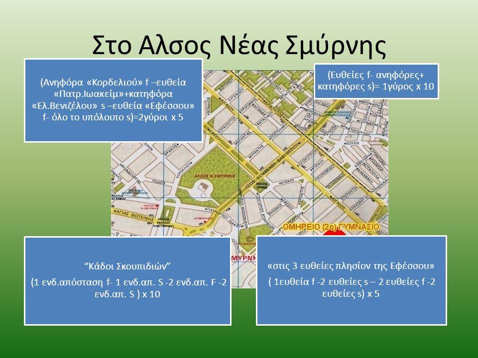 Στο Αλσος Νέας Σμύρνης (Ανηφόρα «Κορδελιού» f –ευθεία «Πατρ.Ιωακείμ»+κατηφόρα «Ελ.Βενιζέλου» s –ευθεία «Εφέσσου» f- όλο το υπόλοιπο s)=2γύροι x 5 (Eυθ