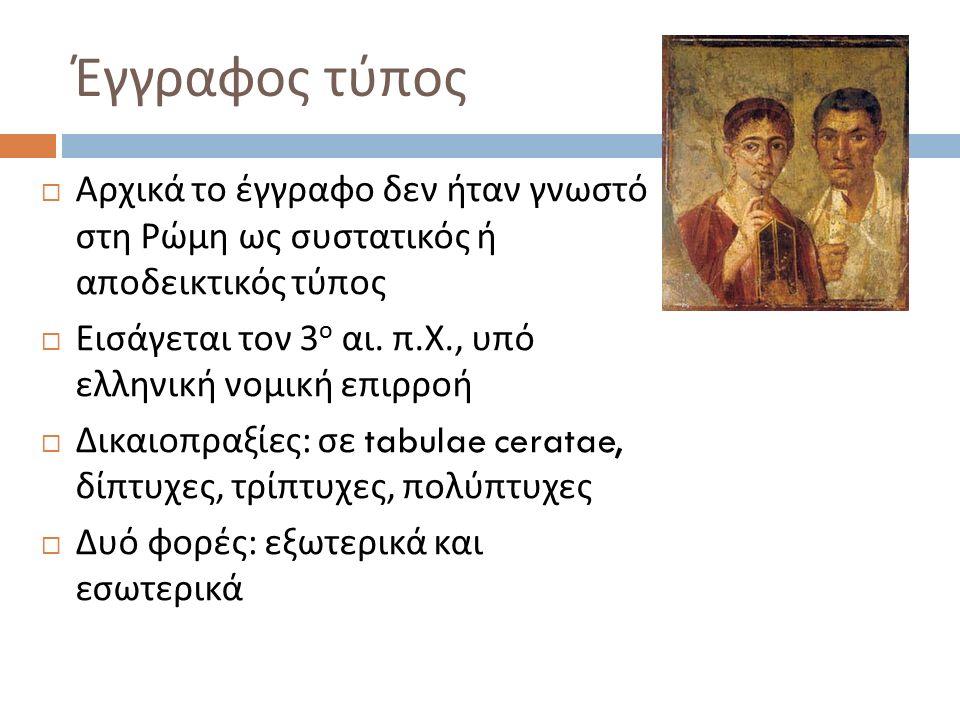  Αρχικά το έγγραφο δεν ήταν γνωστό στη Ρώμη ως συστατικός ή αποδεικτικός τύπος  Εισάγεται τον 3 ο αι. π. Χ., υπό ελληνική νομική επιρροή  Δικαιοπρα