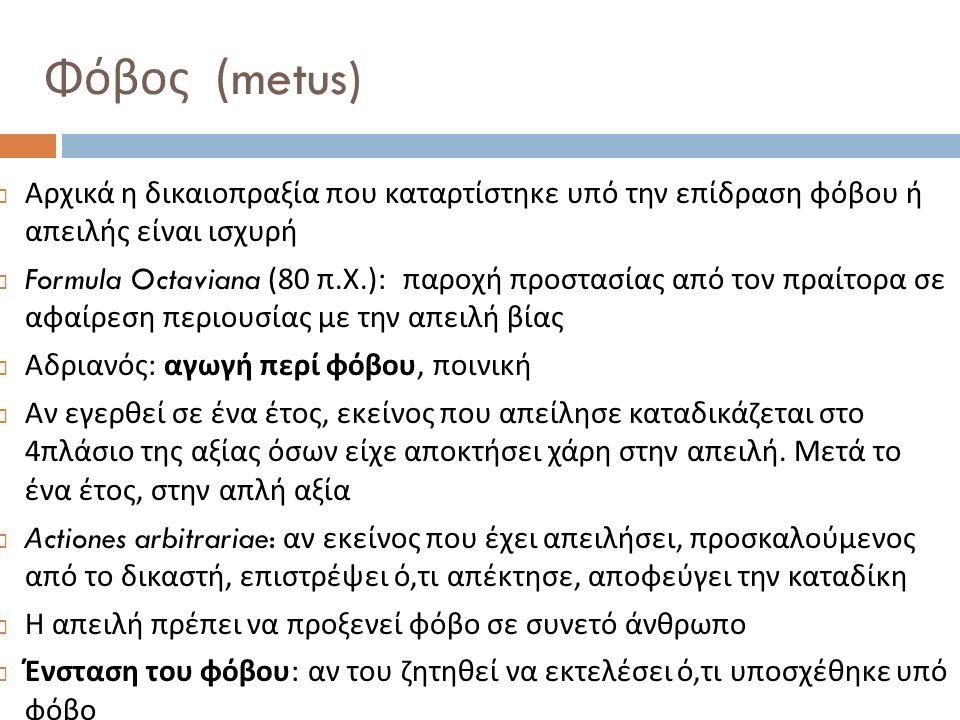  Αρχικά η δικαιοπραξία που καταρτίστηκε υπό την επίδραση φόβου ή απειλής είναι ισχυρή  Formula Octaviana (80 π. Χ.): παροχή προστασίας από τον πραίτ