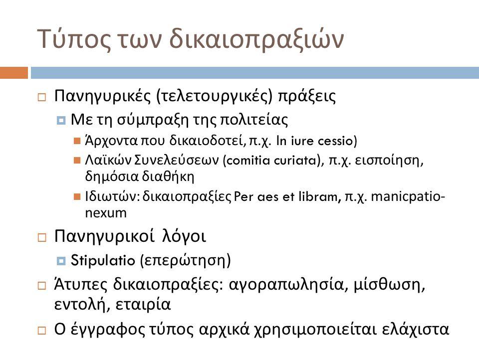 T ύπος των δικαιοπραξιών  Πανηγυρικές ( τελετουργικές ) πράξεις  Με τη σύμπραξη της πολιτείας Άρχοντα που δικαιοδοτεί, π. χ. Ι n iure cessio) Λαϊκών