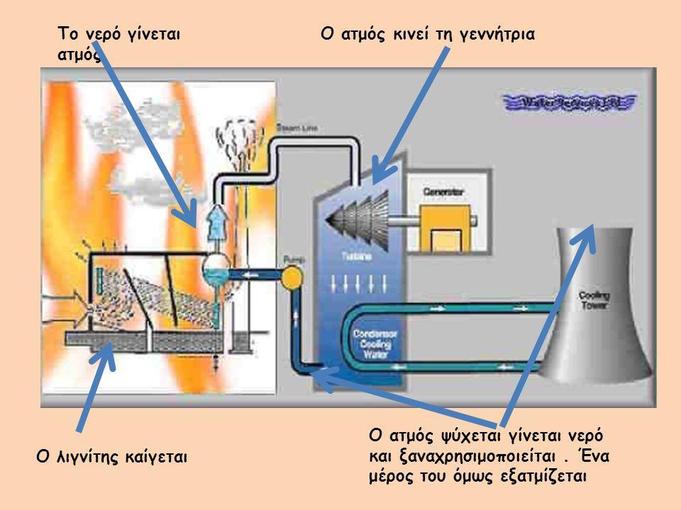 Ο λιγνίτης καίγεται Το νερό γίνεται ατμός Ο ατμός κινεί τη γεννήτρια Ο ατμός ψύχεται γίνεται νερό και ξαναχρησιμοποιείται.