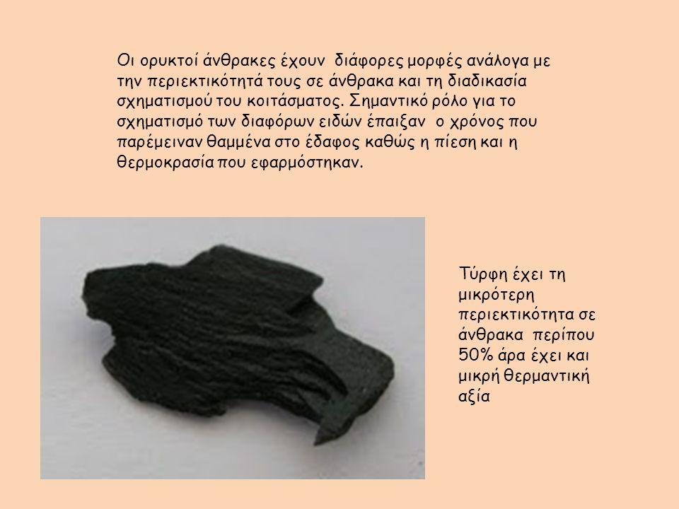 Οι ορυκτοί άνθρακες έχουν διάφορες μορφές ανάλογα με την περιεκτικότητά τους σε άνθρακα και τη διαδικασία σχηματισμού του κοιτάσματος.