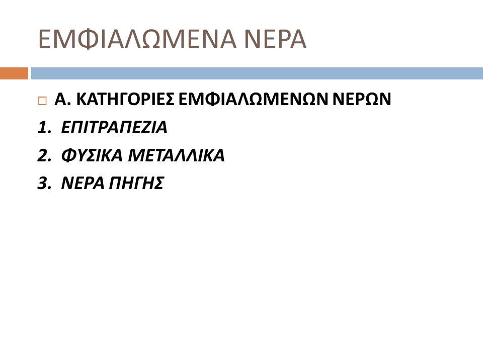 ΕΜΦΙΑΛΩΜΕΝΑ ΝΕΡΑ  Α. ΚΑΤΗΓΟΡΙΕΣ ΕΜΦΙΑΛΩΜΕΝΩΝ ΝΕΡΩΝ 1. ΕΠΙΤΡΑΠΕΖΙΑ 2. ΦΥΣΙΚΑ ΜΕΤΑΛΛΙΚΑ 3. ΝΕΡΑ ΠΗΓΗΣ