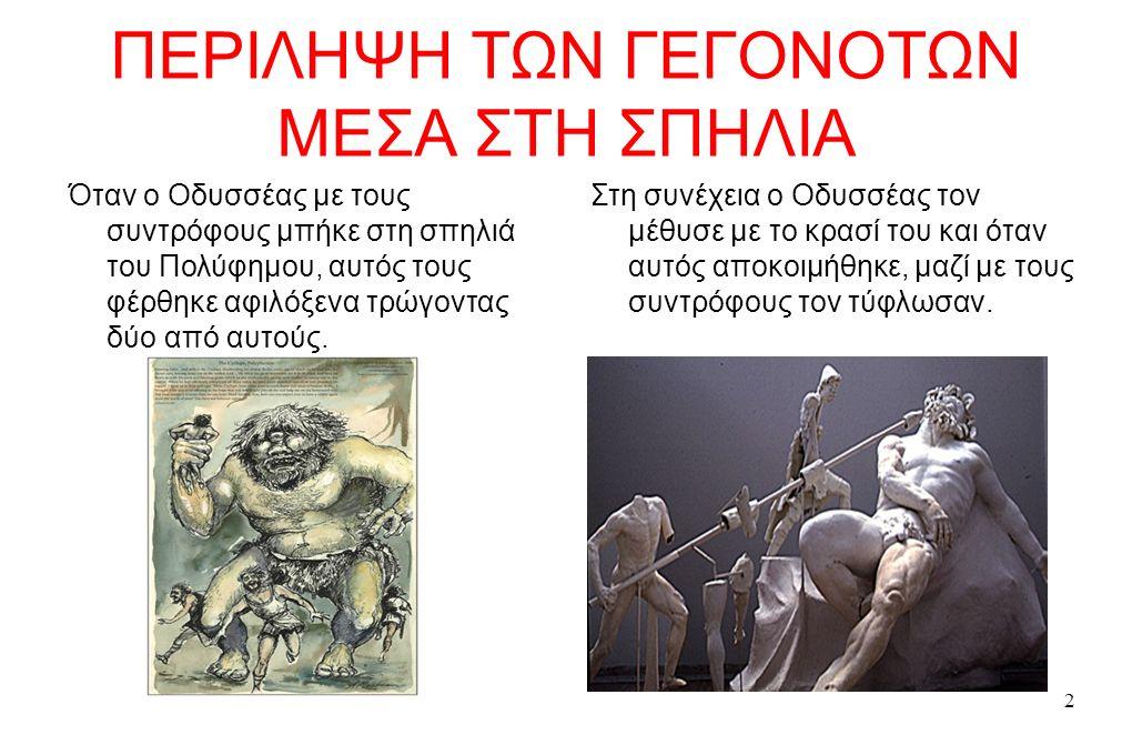 2 ΠΕΡΙΛΗΨΗ ΤΩΝ ΓΕΓΟΝΟΤΩΝ ΜΕΣΑ ΣΤΗ ΣΠΗΛΙΑ Όταν ο Οδυσσέας με τους συντρόφους μπήκε στη σπηλιά του Πολύφημου, αυτός τους φέρθηκε αφιλόξενα τρώγοντας δύο από αυτούς.