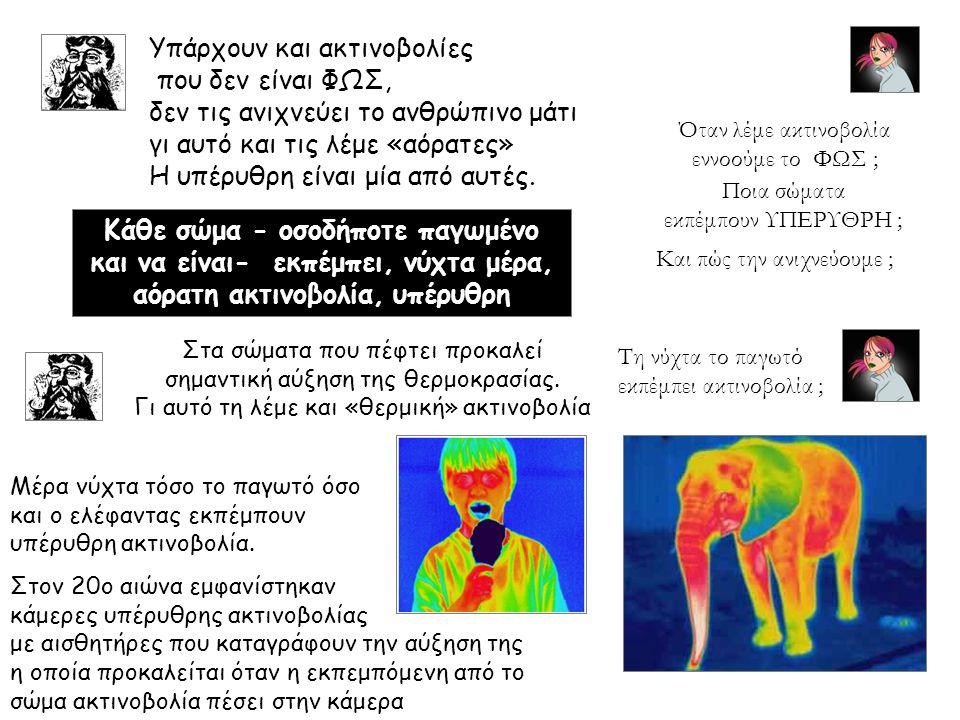 Υπάρχουν και ακτινοβολίες που δεν είναι ΦΩΣ, δεν τις ανιχνεύει το ανθρώπινο μάτι γι αυτό και τις λέμε «αόρατες» Η υπέρυθρη είναι μία από αυτές.