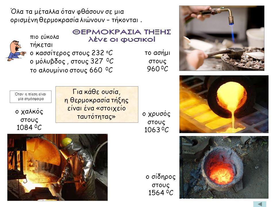 πιο εύκολα τήκεται ο κασσίτερος στους 232 ο C ο μόλυβδος, στους 327 0 C το αλουμίνιο στους 660 0 C Για κάθε ουσία, η θερμοκρασία τήξης είναι ένα «στοιχείο ταυτότητας» το ασήμι στους 960 0 C Όταν η πίεση είναι μία ατμόσφαιρα ο χαλκός στους 1084 0 C ο σίδηρος στους 1564 0 C ο χρυσός στους 1063 0 C Όλα τα μέταλλα όταν φθάσουν σε μια ορισμένη θερμοκρασία λιώνουν – τήκονται.