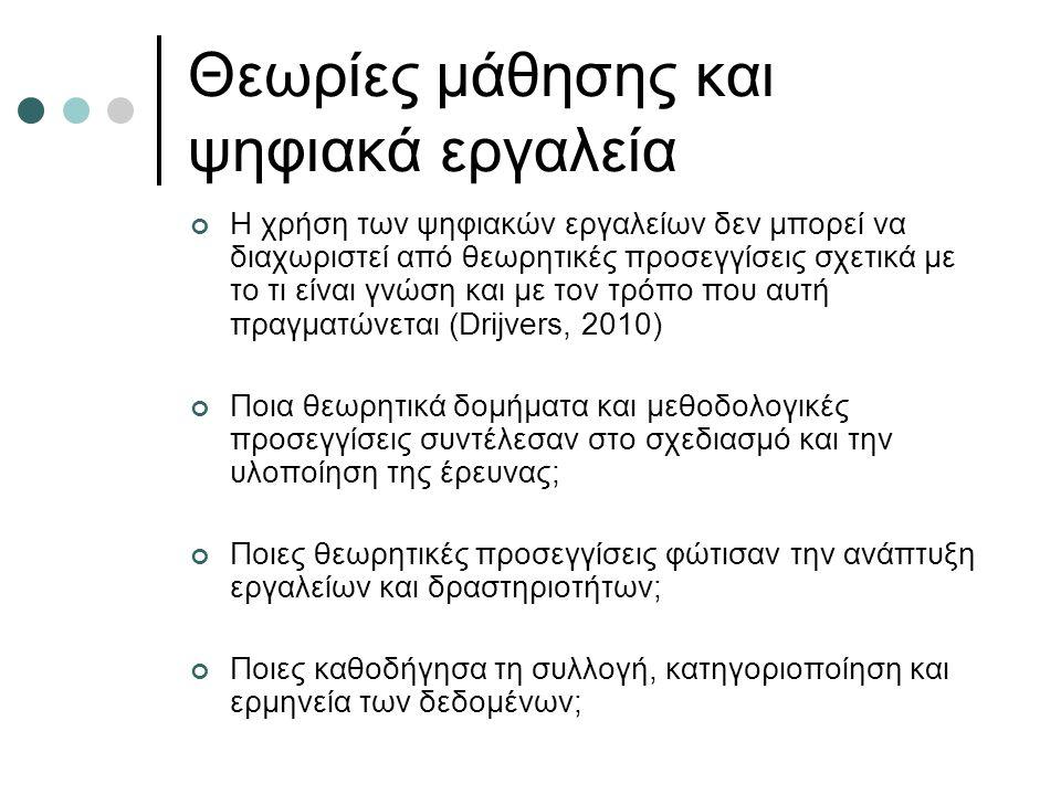 Θεωρίες μάθησης και ψηφιακά εργαλεία Η χρήση των ψηφιακών εργαλείων δεν μπορεί να διαχωριστεί από θεωρητικές προσεγγίσεις σχετικά με το τι είναι γνώση και με τον τρόπο που αυτή πραγματώνεται (Drijvers, 2010) Ποια θεωρητικά δομήματα και μεθοδολογικές προσεγγίσεις συντέλεσαν στο σχεδιασμό και την υλοποίηση της έρευνας; Ποιες θεωρητικές προσεγγίσεις φώτισαν την ανάπτυξη εργαλείων και δραστηριοτήτων; Ποιες καθοδήγησα τη συλλογή, κατηγοριοποίηση και ερμηνεία των δεδομένων;