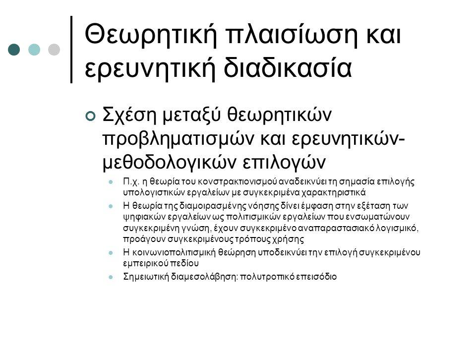Θεωρητική πλαισίωση και ερευνητική διαδικασία Σχέση μεταξύ θεωρητικών προβληματισμών και ερευνητικών- μεθοδολογικών επιλογών Π.χ.