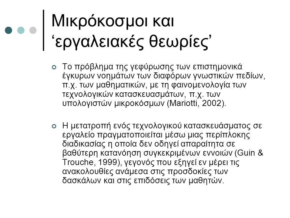 Μικρόκοσμοι και 'εργαλειακές θεωρίες' Το πρόβλημα της γεφύρωσης των επιστημονικά έγκυρων νοημάτων των διαφόρων γνωστικών πεδίων, π.χ.