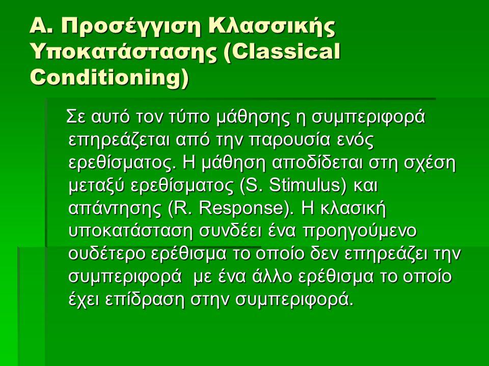 Α. Προσέγγιση Κλασσικής Υποκατάστασης (Classical Conditioning) Σε αυτό τον τύπο μάθησης η συμπεριφορά επηρεάζεται από την παρουσία ενός ερεθίσματος. Η
